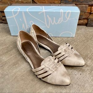Life Stride Soft Gold Faux Leather Pointed Flats 7
